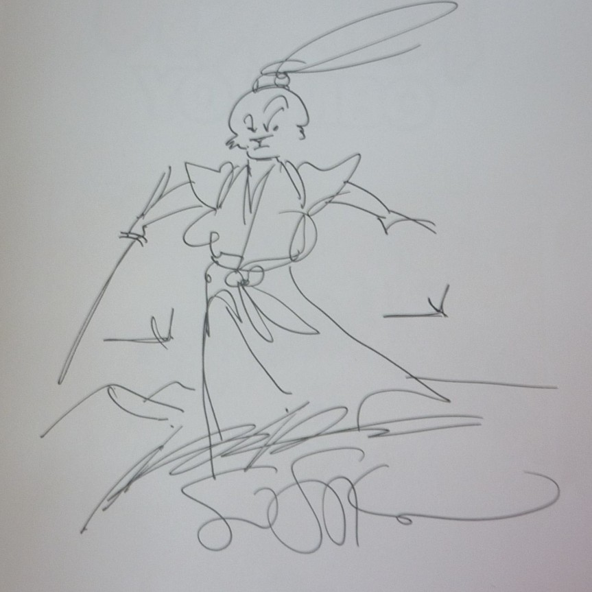 An Sketch of Usagi and Autograph by Stan Sakai inside the front cover.
