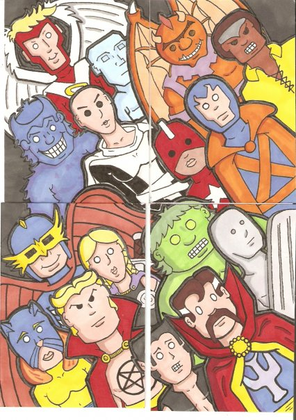A four sketch card set of the Marvel Comics superh